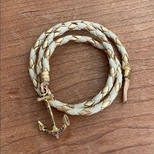 Kiel James Patrick Gold/White Wrap Anchor Bracelet